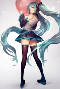 Rating: Safe Score: 60 Tags: hatsune_miku headphones heels lm7 thighhighs vocaloid User: Mr_GT