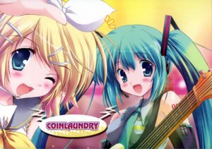 Rating: Safe Score: 17 Tags: happy_birthday hatsune_miku kagamine_rin maruchan paper_texture vocaloid User: admin2