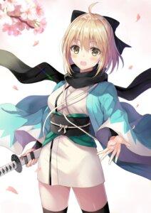 Rating: Safe Score: 31 Tags: fate/grand_order harimoji japanese_clothes sakura_saber sword thighhighs User: hiroimo2