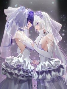 Rating: Questionable Score: 28 Tags: benghuai_xueyuan cz_(mikumikumi) dress honkai_impact kiana_kaslana no_bra raiden_mei wedding_dress yuri User: BattlequeenYume