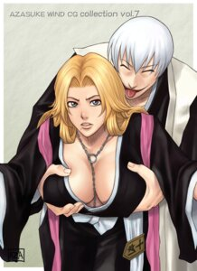 Rating: Questionable Score: 22 Tags: azasuke azasuke_wind bleach breast_grab cleavage ichimaru_gin matsumoto_rangiku no_bra User: Radioactive
