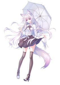 Rating: Safe Score: 23 Tags: animal_ears heels kirby_gen kitsune seifuku skirt_lift tail thighhighs umbrella User: charunetra