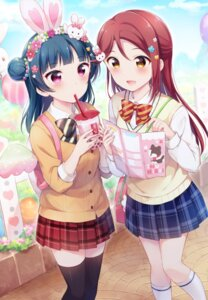 Rating: Safe Score: 22 Tags: animal_ears bunny_ears hazuki_(sutasuta) love_live!_sunshine!! sakurauchi_riko seifuku sweater thighhighs tsushima_yoshiko User: Mr_GT