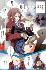 Rating: Safe Score: 10 Tags: fuyuno_haruaki gun megane seifuku thighhighs User: blooregardo
