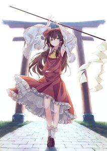Rating: Safe Score: 24 Tags: hakurei_reimu kisamu_(ksmz) miko skirt_lift torii touhou User: Dreista