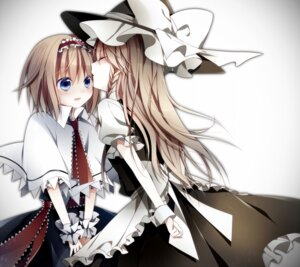 Rating: Safe Score: 27 Tags: alice_margatroid dress kirisame_marisa nishina touhou witch yuri User: Radioactive