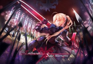 Rating: Safe Score: 37 Tags: armor dress fate/stay_night gen_(artist) saber saber_alter sword User: Zenex