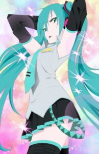 Rating: Safe Score: 38 Tags: hatsune_miku headphones panty_&_stocking_with_garterbelt parody taco_(pixiv1827067) thighhighs vocaloid User: charunetra