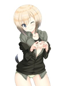 Rating: Questionable Score: 41 Tags: a9b_(louis814) breast_grab breasts erica_hartmann nipples no_bra open_shirt pantsu shirt_lift strike_witches tail User: Mr_GT