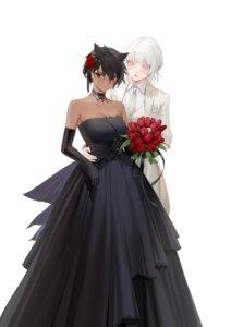 Rating: Safe Score: 21 Tags: animal_ears cleavage crossdress dress no_bra ohisashiburi tagme wedding_dress yuri User: Spidey