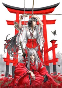 Rating: Safe Score: 16 Tags: animal_ears autographed inumimi inuyasha inuyasha_(character) japanese_clothes kikyo miko sword takumi_(marlboro) weapon User: Radioactive
