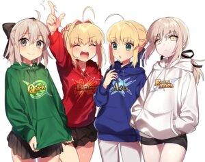Rating: Safe Score: 54 Tags: fate/grand_order ichinose_yukino saber saber_alter saber_extra sakura_saber sweater User: saemonnokami