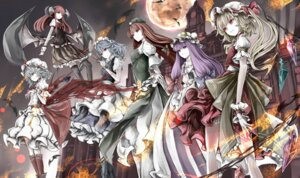 Rating: Safe Score: 19 Tags: dress flandre_scarlet hong_meiling horns izayoi_sakuya koakuma maid patchouli_knowledge remilia_scarlet thighhighs touhou weapon wings yutapon User: charunetra