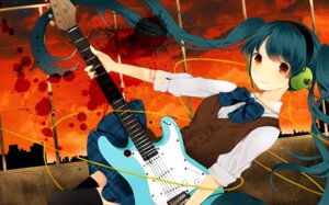 Rating: Safe Score: 11 Tags: guitar hatsune_miku headphones komine seifuku thighhighs vocaloid User: Nekotsúh