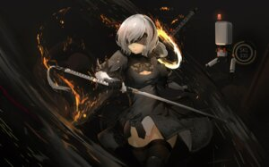 Rating: Safe Score: 22 Tags: cleavage dress luomo nier_automata sword thighhighs yorha_no.2_type_b User: Mr_GT