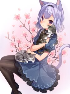 Rating: Safe Score: 32 Tags: animal_ears breast_hold dress neko nekomimi pantyhose shouu-kun tail User: sym455