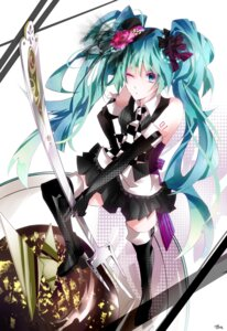 Rating: Safe Score: 12 Tags: hatsune_miku thighhighs tyouya vocaloid User: eridani