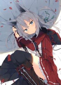 Rating: Questionable Score: 43 Tags: animal_ears nibiiro_shizuka sword thighhighs uniform User: Radioactive