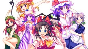Rating: Safe Score: 21 Tags: cubetype dress flandre_scarlet hakurei_reimu hong_meiling izayoi_sakuya maid patchouli_knowledge remilia_scarlet sarashi touhou wallpaper weapon wings yuuki_keisuke User: fireattack