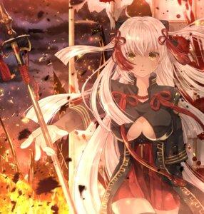 Rating: Safe Score: 41 Tags: fate/grand_order iroha_(shiki) majin_saber no_bra weapon User: Mr_GT