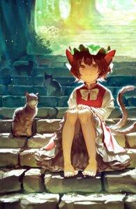 Rating: Safe Score: 18 Tags: animal_ears bloomers chen feet motsuba neko nekomimi skirt_lift tail touhou User: Mr_GT