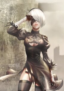 Rating: Safe Score: 45 Tags: cleavage dress nier_automata sanakichi signed thighhighs yorha_no.2_type_b User: mash
