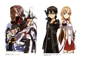 Rating: Safe Score: 25 Tags: adachi_shingo armor asuna_(sword_art_online) heathcliff kirito monster sword sword_art_online thighhighs User: drop