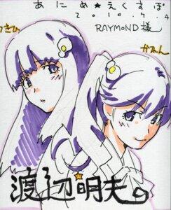 Rating: Safe Score: 12 Tags: araragi_karen araragi_tsukihi autographed bakemonogatari nisemonogatari watanabe_akio User: admin2