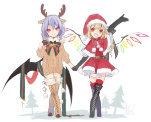 Rating: Safe Score: 14 Tags: animal_ears christmas dress flandre_scarlet horns remilia_scarlet sweater thighhighs touhou toutenkou wings User: Mr_GT