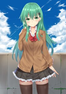 Rating: Safe Score: 52 Tags: kantai_collection phano_(125042) seifuku suzuya_(kancolle) sweater thighhighs User: Mr_GT