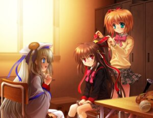 Rating: Safe Score: 12 Tags: kamikita_komari little_busters! moonknives natsume_rin noumi_kudryavka seifuku User: MugiMugi
