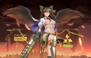 Rating: Questionable Score: 23 Tags: armor mochi_(chain_csn) no_bra pointy_ears reiuji_utsuho touhou underboob weapon wings User: RyuZU