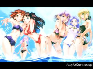 Rating: Safe Score: 52 Tags: bikini caster elf fate/hollow_ataraxia fate/stay_night matou_sakura mitsuzuri_ayako nishieda overfiltered pointy_ears rider saber swimsuits toosaka_rin wallpaper User: Radioactive