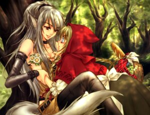 Rating: Questionable Score: 32 Tags: animal_ears big_bad_wolf cleavage little_red_riding_hood_(character) red_riding_hood sakura_shio tail yuri User: Radioactive