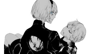 Rating: Safe Score: 9 Tags: blood dress monochrome nier_automata pullssack yorha_no.2_type_b yorha_no._9_type_s User: mash