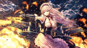 Rating: Questionable Score: 16 Tags: azur_lane belfast_(azur_lane) catbell cleavage maid weapon User: sym455