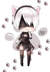 Rating: Safe Score: 20 Tags: animal_ears chibi cleavage cspsmac31126 dress nekomimi nier_automata signed tail thighhighs yorha_no.2_type_b User: mash