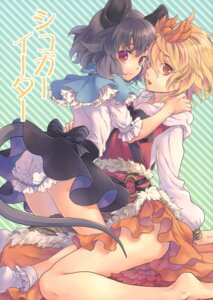 Rating: Questionable Score: 25 Tags: animal_ears ass bloomers dress nazrin tail tomobe_kinuko toramaru_shou touhou yuri User: Radioactive