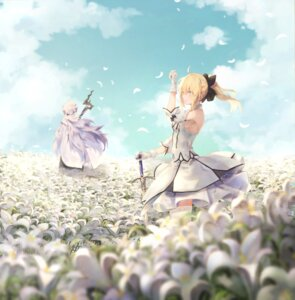 Rating: Safe Score: 18 Tags: dress fate/grand_order merlin_(fate/stay_night) pigone saber saber_lily sword thighhighs User: BattlequeenYume