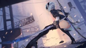 Rating: Questionable Score: 50 Tags: ass heels leotard nier_automata signed sombernight sword thighhighs yorha_no.2_type_b User: RyuZU