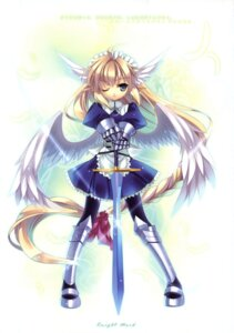Rating: Safe Score: 25 Tags: armor capura.l elf eternal_phantasia pantyhose pointy_ears sword wings User: fireattack
