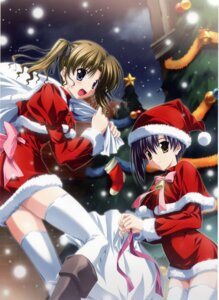 Rating: Questionable Score: 21 Tags: christmas ef_~a_fairytale_of_the_two~ hayama_mizuki nanao_naru shindou_kei thighhighs User: fireattack