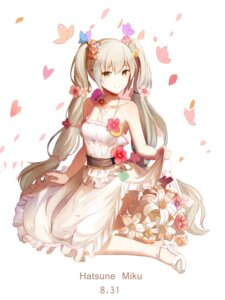Rating: Safe Score: 50 Tags: dress hatsune_miku heels red_flowers skirt_lift vocaloid User: Mr_GT