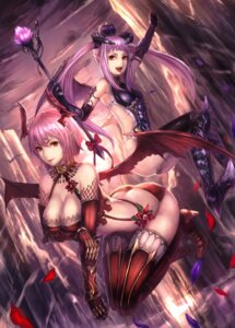 Rating: Questionable Score: 72 Tags: armor bikini_armor breast_hold cleavage fishnets heels horns leotard pointy_ears thighhighs weapon wings yazuwo User: blooregardo