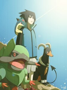 Rating: Safe Score: 11 Tags: ceal-sakura-ai crossover horns houndoom naruto paper_texture pokemon quilava tail uchiha_sasuke User: charunetra