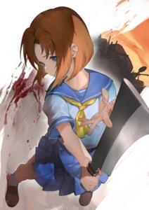 Rating: Questionable Score: 12 Tags: blood higurashi_no_naku_koro_ni nuda ryuuguu_rena seifuku weapon User: Dreista