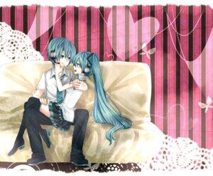 Rating: Safe Score: 5 Tags: genderswap hatsune_miku hatsune_mikuo mitsuka vocaloid User: charunetra