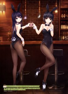 Rating: Questionable Score: 150 Tags: animal_ears aoyama_sumika ass bunny_ears bunny_girl cleavage coffee-kizoku fishnets heels pantyhose shiramine_rika tail User: drop