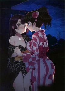 Rating: Questionable Score: 42 Tags: kuro_chairo_no_neko no_bra open_shirt yukata yuri User: Twinsenzw