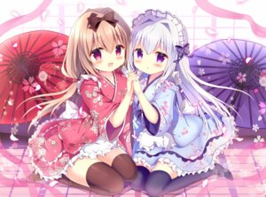 Rating: Safe Score: 80 Tags: azumi_kazuki maid symmetrical_docking thighhighs umbrella wa_maid User: fairyren